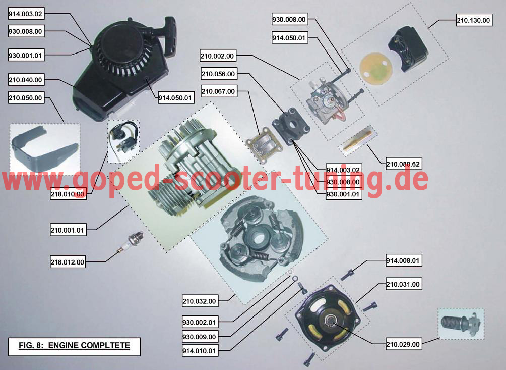 Engine parts for Chinese Blata Engine